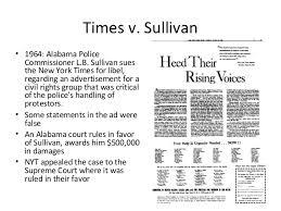 New York Times V Sullivan Major Cases