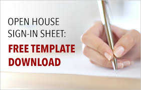 real estate open house sign in sheet free template