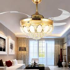 modern crystal ceiling fan 42 inch invisible blades led folding ceiling fans light chandeliers living room dining room lamp remote control from