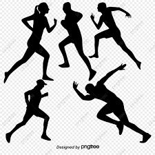 走る人の群れはシルエット素材素材 運動 人ごみ ランニング画像素材の
