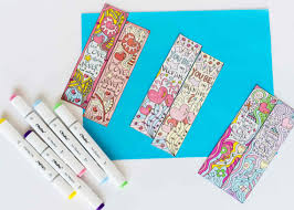Design Bookmarks Coloring Valentines Day Bookmarks Free Printable