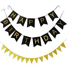 Kungyo Happy Birthday Banner Black Color Golden Letters Birthday Party Decorations With Triangular Bunting Flag Garland