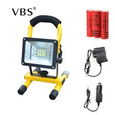 Battery Flood Lights Outdoor Us 25 99 45 Off Led Floodlight 30w 24 Leds Portable Flood Light Spotlight 2000lm Waterproof Outdoor Rechargeable Light Power By 3x 18650 Battery In