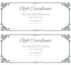 Gift Certificate Printable Free Gift Certificate Blank Template Simplish Info