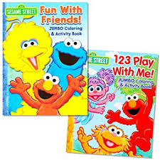 Sesame Street Coloring Book Set 2 Books Elmo And