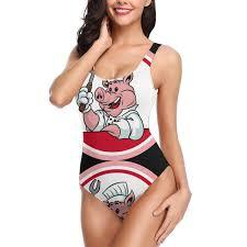 Womens Bbq Chef Pig Roast One Piece Beachwear High Cut