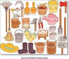 set of adorable garden tools cartoon