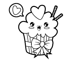 Small Picture Cupcake kawaii with tie coloring page Coloringcrewcom