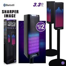 speakers light up. sharper image sbt1019s wireless multicolored light-up dual tower speakers black - shop by category light up