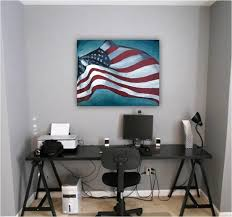 artwork home office modern contemporary space red accent on gray walls modern home office los angeles