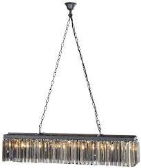 smokey glass rectangular chandelier