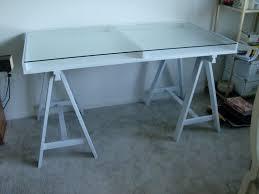 glass sawhorse desk