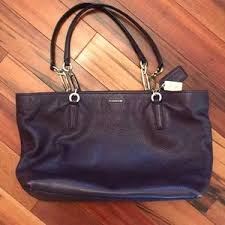 Coach Madison east west purple tote