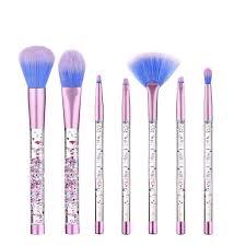 7pcs set glitter mermaid liquid handle makeup brushes set eyeshadow powder blush brush
