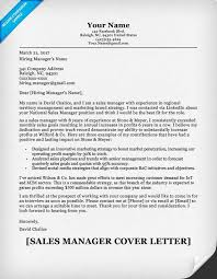 Resume Cover Letter Management Sales Manager Example Experience