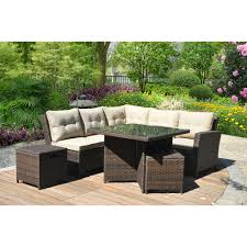 costway 6 pcs outdoor patio rattan wicker sectional furniture set table sofa cushioned com