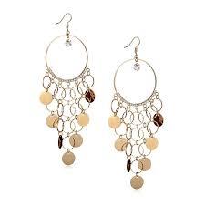 gold chandelier earrings sequin circle hoop chandelier shoulder duster earrings rhinestone
