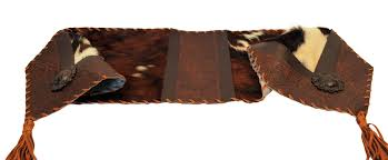 home tablerunners tr 0934 dark brindle color hair on cow leather with brown color western design leather
