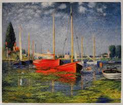 the red boats claude monet hand painted oil painting replica