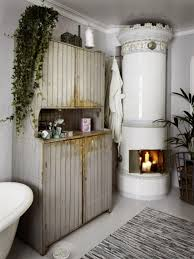 ... Shabby Chic Bathroom Design Having A Sideboard And A Fireplace: Rustic  Wooden Cabinet Besides Fireplace ...