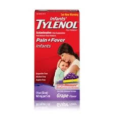Infants Tylenol Pain Reliever Fever Reducer Oral Suspension Grape Flavor