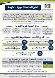 الجامعة العربية المفتوحة/ فلسطين Arab Open University - استمرار استقبال  طلبات الإلتحاق للفصل الأول 2021/2020. على الطلبة الراغبين بالتسجيل تعبئة  الطلب الإلكتروني من خلال الرابط التالي: https://bit.ly/2UlaUDo لمزيد من  المعلومات الاتصال على