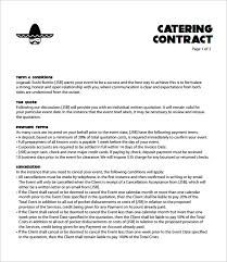 Catering Contract Samples Catering Contract Template Template Business
