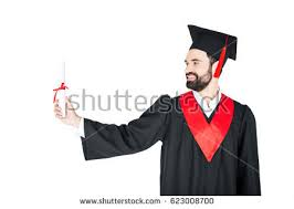 young student graduation cap diploma jumping stock photo  happy young man in graduation gown holding diploma