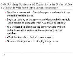 16 3 6 solving systems of equations in 3 variables