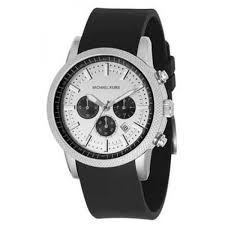 michael kors mk8055 silver dial rubber chronograph mens watch