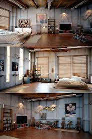 bedroom loft design. interior:magnificent industrial bedroom loft design with grey concrete wall also brown ceramic floor like n