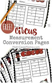 Free Circus Themed Conversion Worksheets
