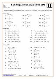 solving equations maths worksheet