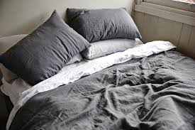 linen duvet cabin style decor bedroom with charcoal cover flax set material chest twin linen duvet cover