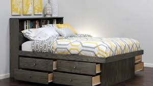 queen captains bed with bookcase headboard  youtube