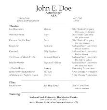 Child Actor Resume Example Actor Resume Example Theater Resume