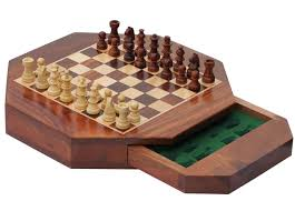 "Wooden Board Game Sets Bulk Wholesale 100"" Octagonal Chess Board Handmade Wooden Travel 17"