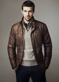 consider teaming a brown leather er jacket with navy chinos to create a great weekend