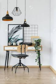 home office desk vintage design. Modern Retro Style Desk And Chair In Cozy White Home Office Interior With Vintage Typewriter, Design