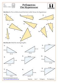 Trigonometry and Pythagoras WorksheetsGeometry Pythagoras Worksheets at ks4