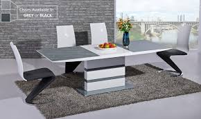 grey glass white high gloss dining table and 8 chairs set