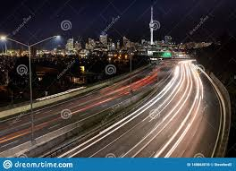 Night Light Auckland Car Light Trails At Night Heading Into Auckland With The