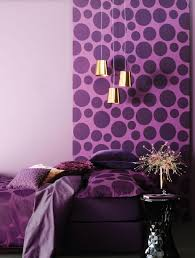 creative purple bedroom ideas with large purple dots wall design
