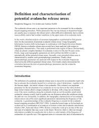 Definition And Characterisation Of Potential Avalanche Release