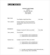 Free Printable Resume Template Blank Magnificent Free Printable Resume Templates Blank Template Of Resume Sample Free