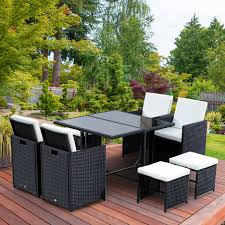 Details about outsunny 9pc patio dining furniture set pe rattan wicker table chairs ottoman