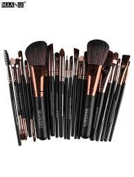 maange 22 pcs fiber eye makeup brushes set coffee