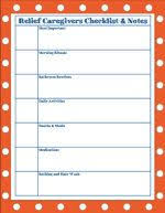 Caregiver Chart Relief Caregivers Checklist And Notes Chart Caregiver