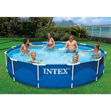intex 12 ft x 30 in round metal frame swimming pool with 530 gph