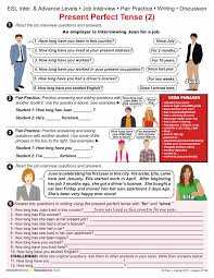 esl present perfect tense job interview item other esl present perfect tense 2 job interview item 0108 other files documents and forms